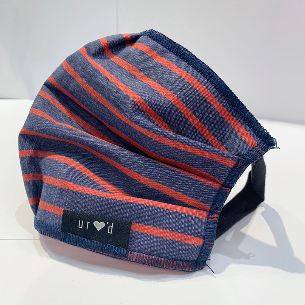 Washable Face Mask in Cotton, Navy & Red Stripe