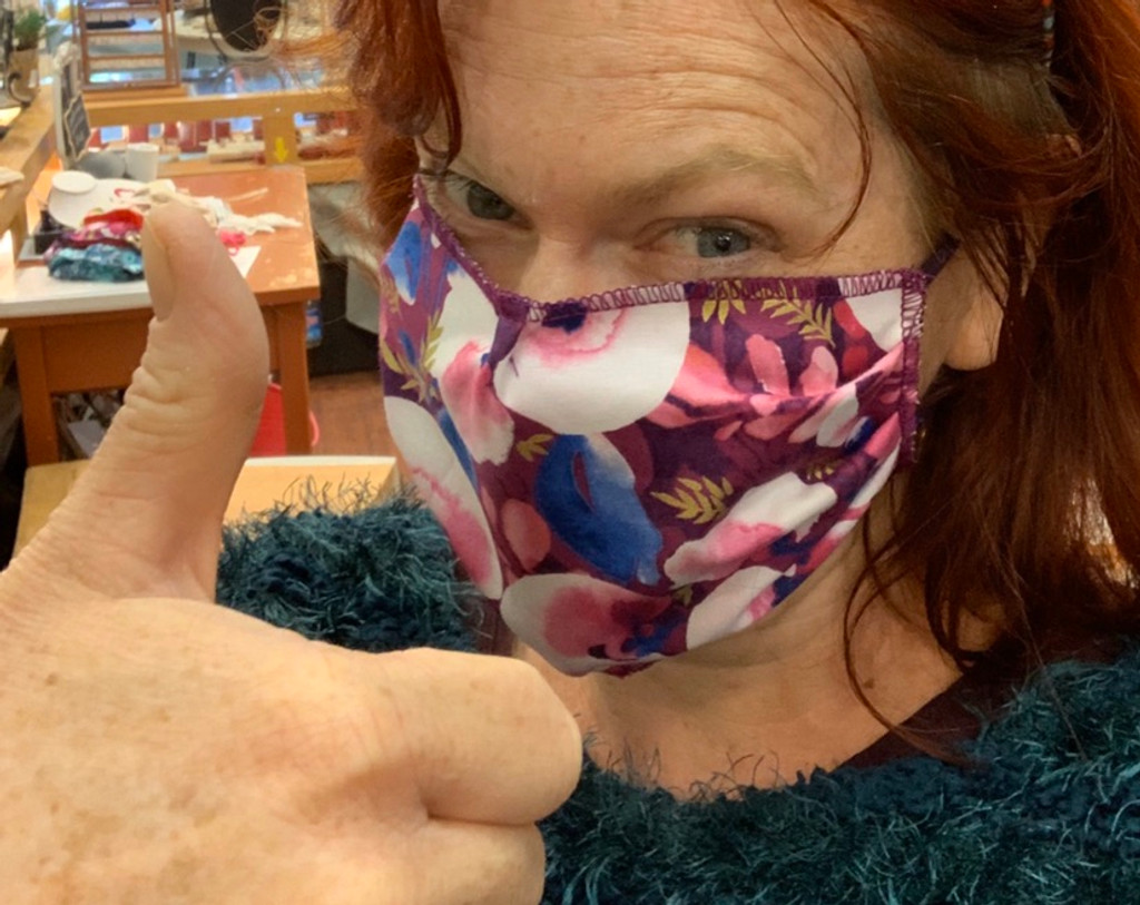Washable Face Mask in Cotton, Roses & Stripes