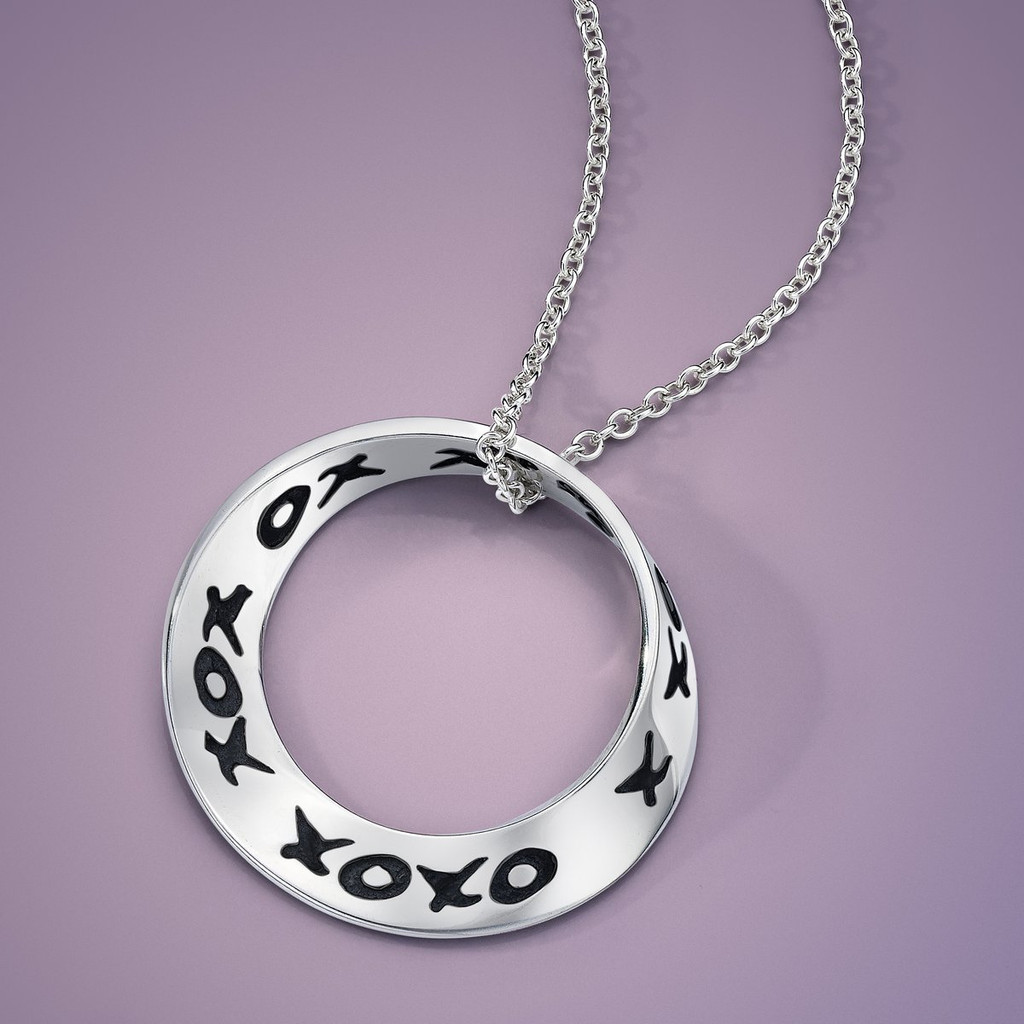 Hugs & Kisses (xo xox) Silver Small Mobius Necklace