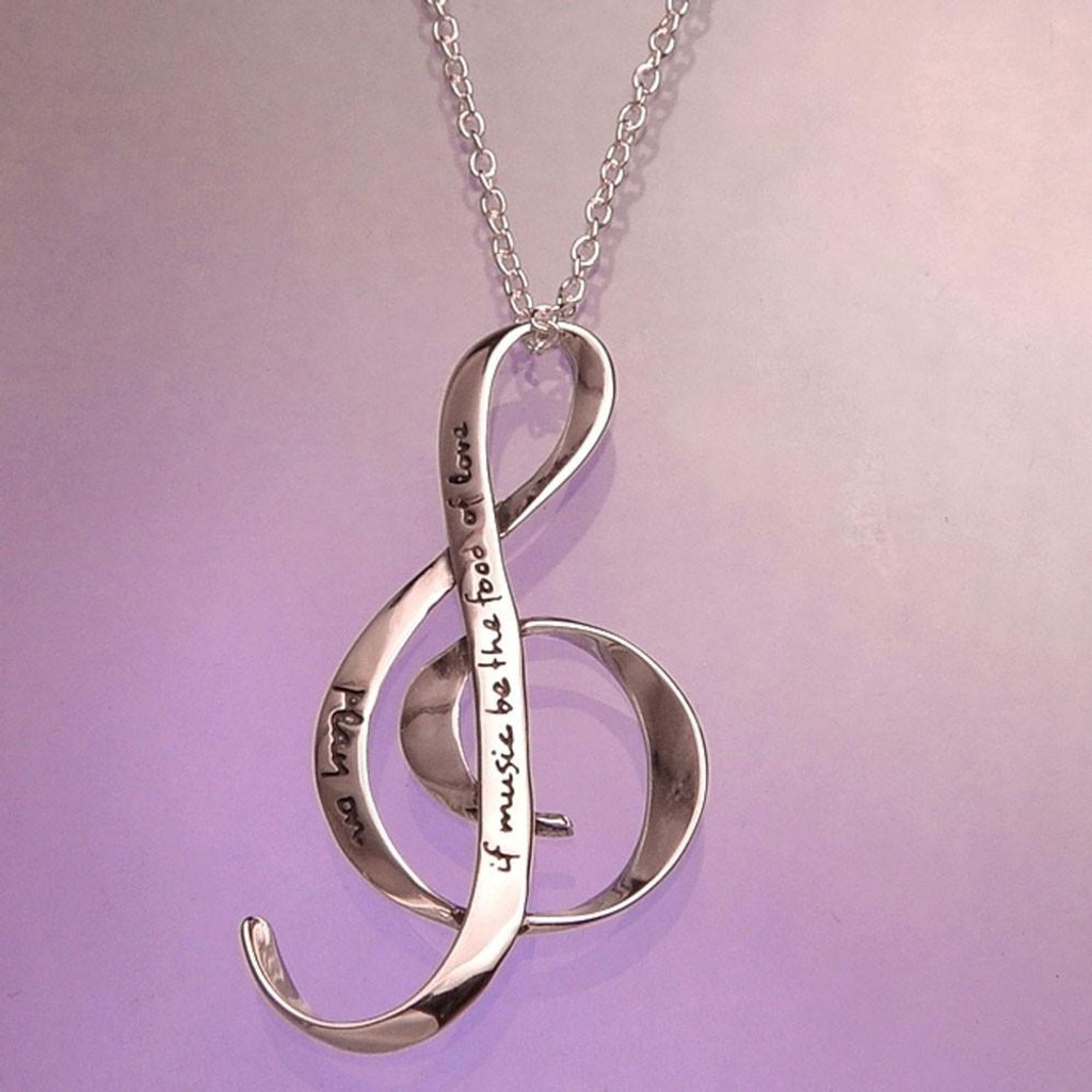 If Music Be (Shakespeare) Silver Treble Clef Necklace