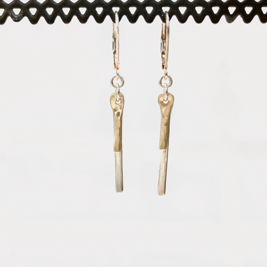 Sterling Silver Sparkly Bars Earrings