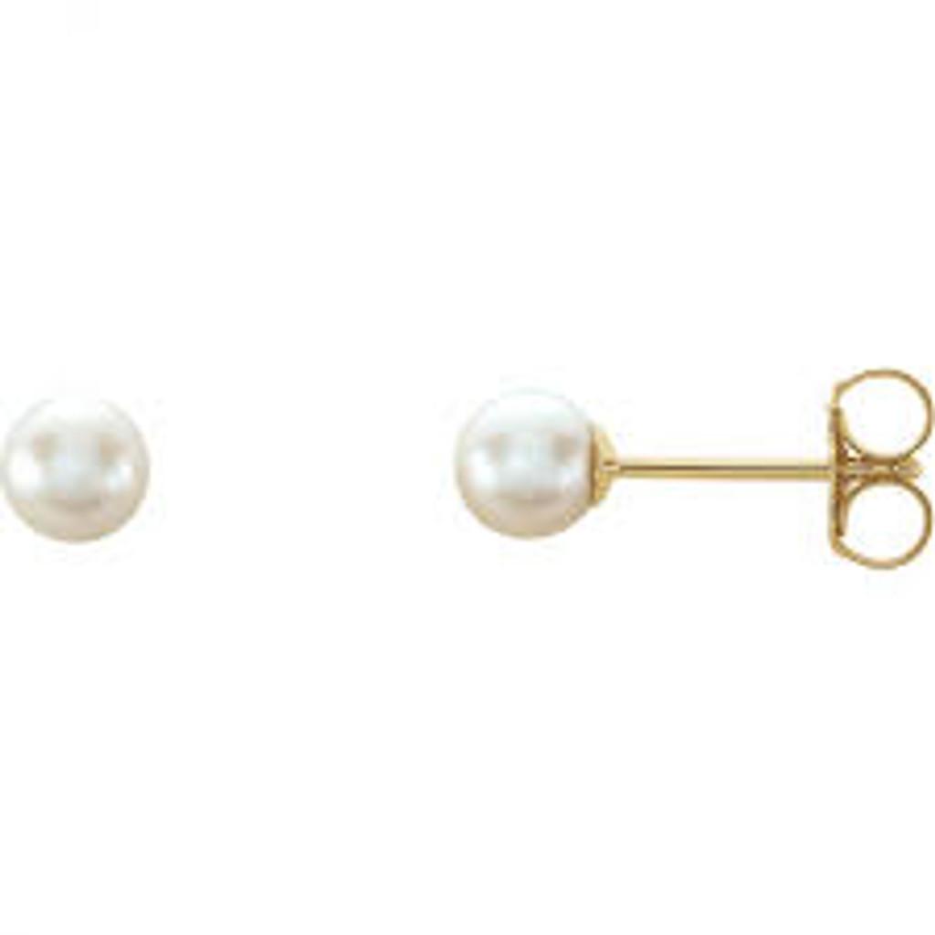 14k Gold 4mm White Akoya Cultured Pearl Earrings