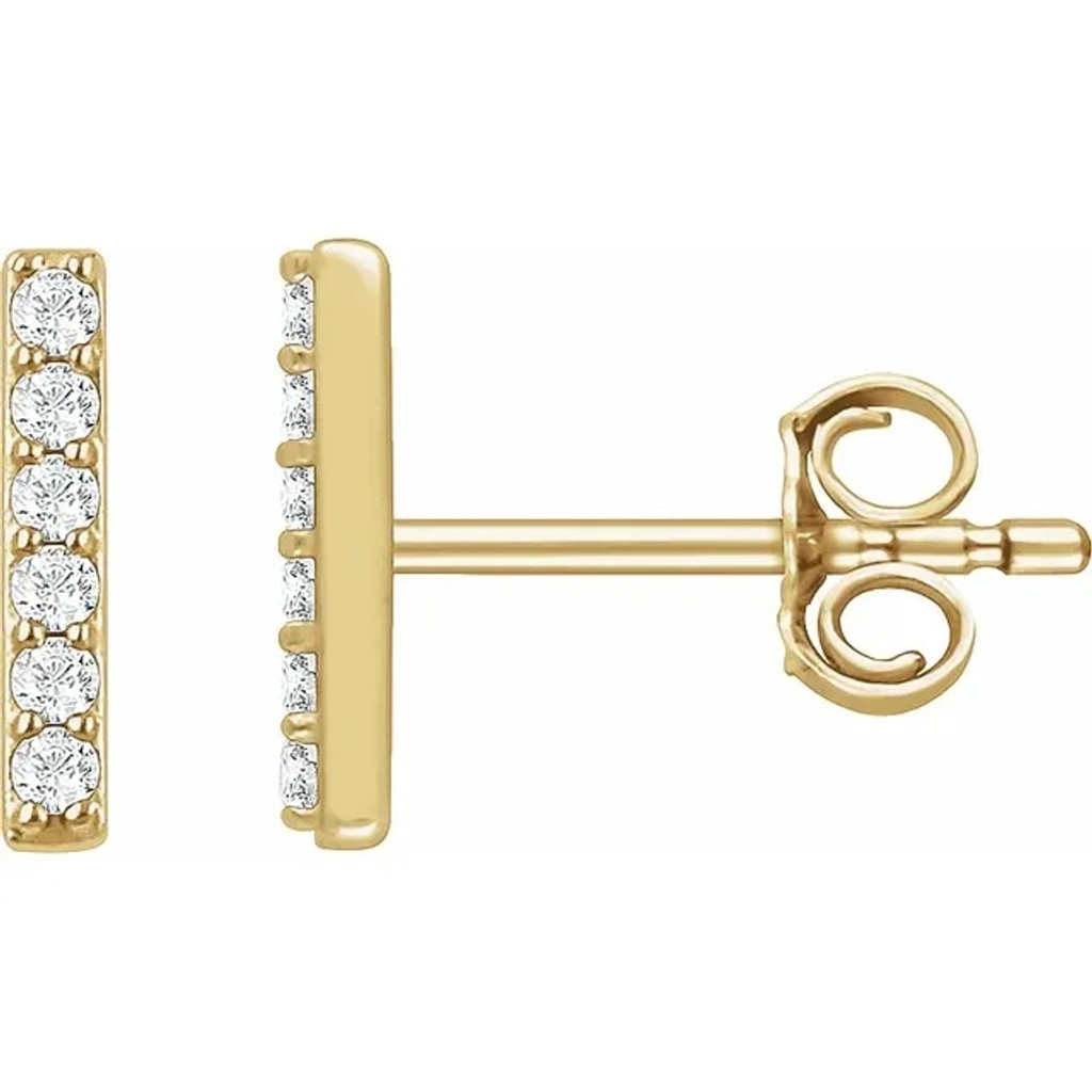 14k Gold 1/10 CTW Diamond Bar Earrings