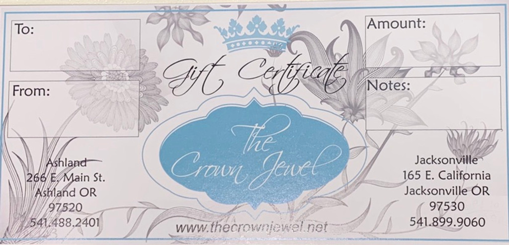 Gift Certificate - The Crown Jewel In-Store