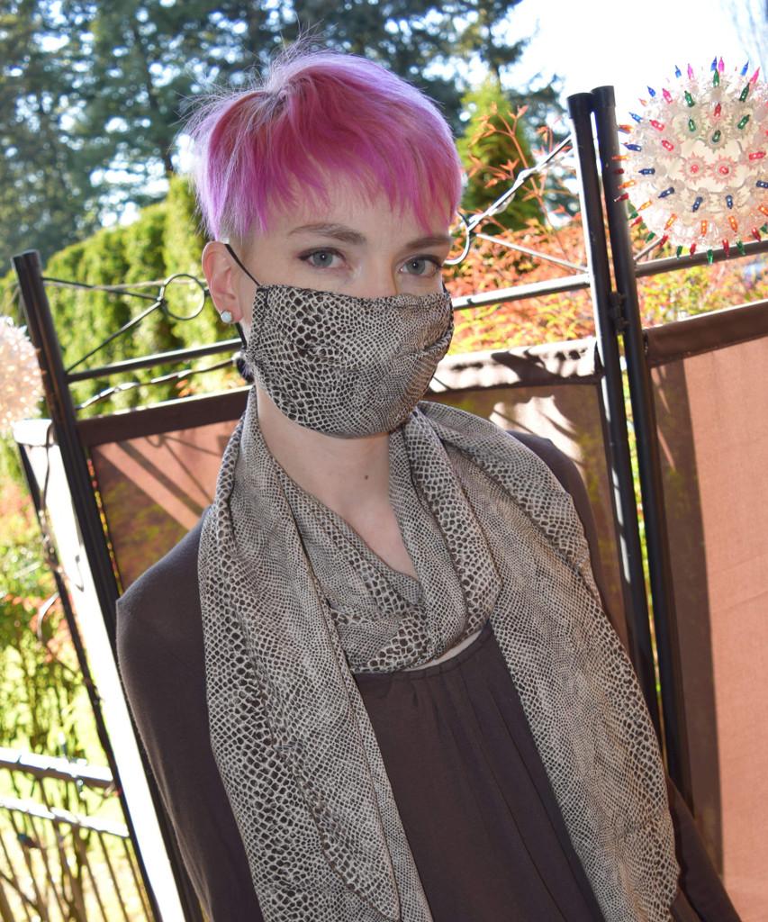 Face Mask Three Pleated 100% Cotton, Cobra Snake Print
