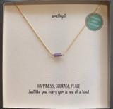 Amethyst Tiny 3-Gem Gold Fill Necklace