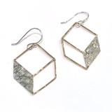 Mixed Metal 3D Cube Earrings