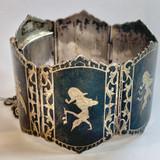 Antique Siam (Thailand) Niello Enamel Sterling Silver Bracelet