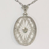 10k White Gold Art Deco Pendant Necklace with Camphor Glass and Diamond