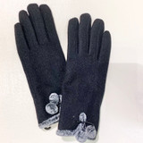 Black Wool Gloves with Faux Fur Trim