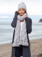 CozyChic Cable Scarf, Ocean