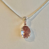 Oregon Sunstone 10mm Oval Pendant Necklace Silver