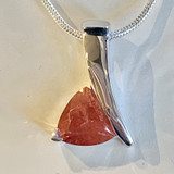 Oregon Sunstone 10mm Trillion Pendant Necklace Silver