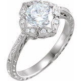 1 Carat Diamond  Engagement Ring 14K White Gold