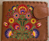 Flower Embroidery Fold Wallet Vegan Leather