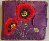 Poppy Embroidery Fold Wallet Vegan Leather