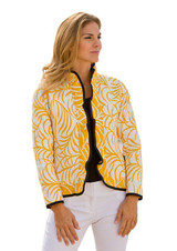Ruffle Palm Reversible Jacket, Lemon Yellow