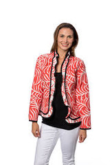Ruffle Palm Reversible Jacket, Coral