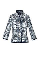 Three-Quarter Sleeve Cobblestone Reversible Jacket, Black/White