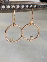 Open Circle Peridot Gold Fill Drop Earring