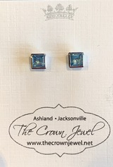 Square Faceted Blue Topaz Post Earrings