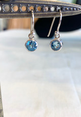 Faceted Blue Topaz Silver Dangle Earring