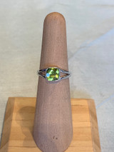 Square Faceted Peridot Silver Ring, Size 5