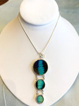 Eco-Friendly Triple Round Butterfly Wing Necklace