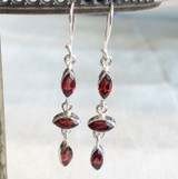 Triple Faceted Marquis Garnet Silver Dangle Earring