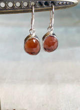 Faceted Organic Garnet Silver Dangle Earring