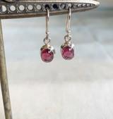 Oval Cabochon Rhodolite Garnet Silver Dangle Earring