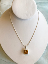Large Square Princess Cut Citrine Pendant