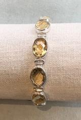 Faceted Oval Multi Citrine Silver Bracelet