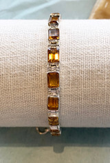 Faceted Rectangle Multi Citrine Silver Bracelet