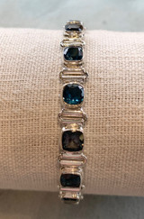 Square Faceted Multi London Blue Topaz Silver Bracelet