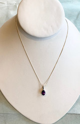 Small Faceted Oval Amethyst Silver Pendant