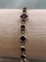 Faceted Square Garnet Link Silver Bracelet