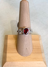 Oval Garnet Celtic Filigree Silver Ring, Size 7