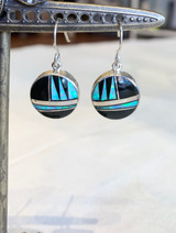 Onyx and Opal Inlay Silver Earrings  by Sheryl Martinez