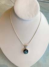 Onyx and Turquoise Inlay Silver Pendant by Sheryl Martinez