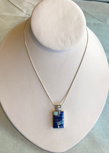 Lapis & Onyx Inlay Silver Rectangular Pendant by Sheryl Martinez