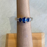14k White Gold Three Sapphire & Diamond Ring, Size  4 1/4