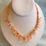 Antique Angel Skin Coral Necklace