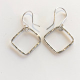 Small Hammered Square Silver Earrings