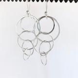Multiple Looped Circles Silver Earrings
