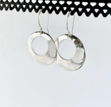 Small Circle Hammered Silver Earrings
