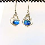 Blue Moonstone Silver Earrings