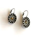 Gold Swarovski Crystal Silver Circle Earrings