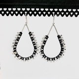 Beaded Macrame Teardrop Silver Dangle Earrings