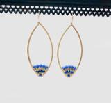 Beaded Petal Brass Dangle Earrings